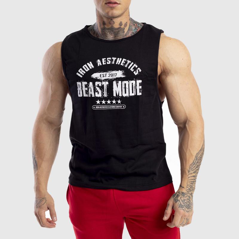 Ujjatlan férfi fitness póló Iron Aesthetics Beast Mode Est. 2017, fekete-1