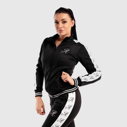 Női fitness cipzáros pulcsi Iron Aesthetics Striped, fekete