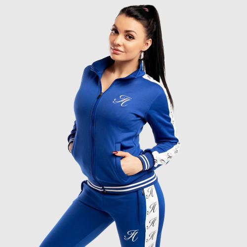 Női fitness cipzáros pulcsi Iron Aesthetics Striped, kék