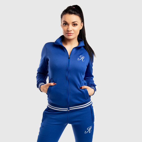 Női fitness cipzáros pulcsi Iron Aesthetics, kék