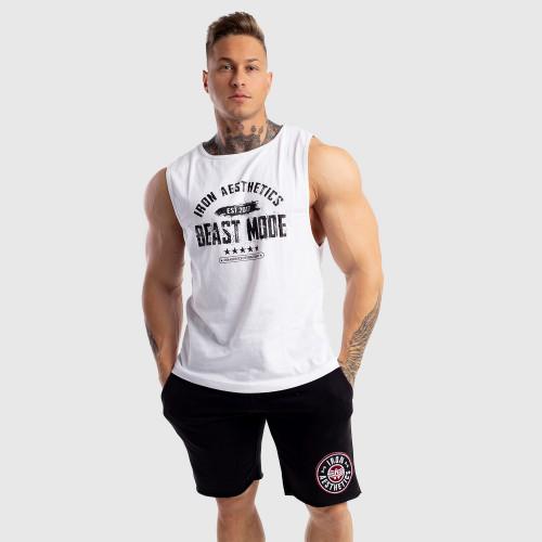 Ujjatlan férfi fitness póló Iron Aesthetics Beast Mode Est. 2017, fehér