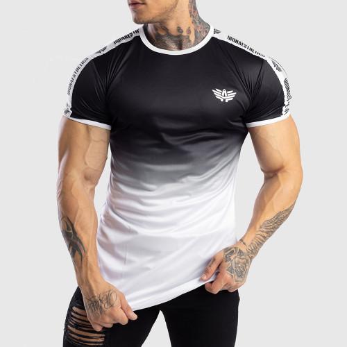 Férfi Iron Aesthetics funkciós póló FADED STRIPES, fekete-fehér