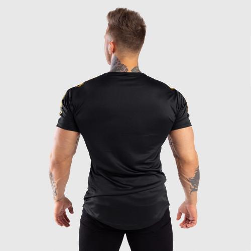 Férfi Iron Aesthetics funkciós póló STRIPES, fekete-arany