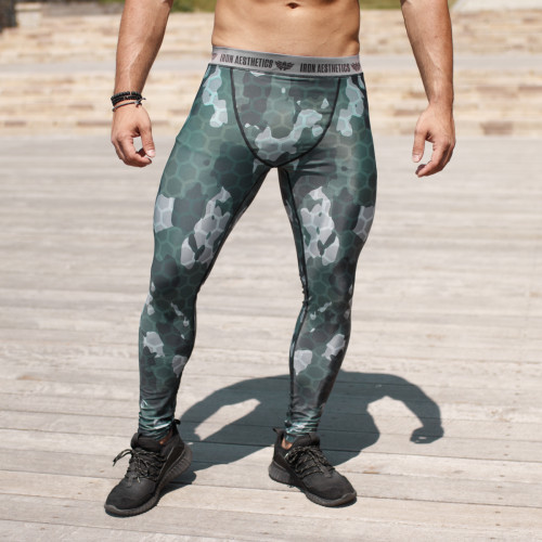 Férfi leggings Iron Aesthetics Net Camo Green