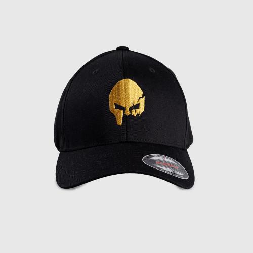 Férfi siltes sapka Iron Aesthetics FlexFit SKULL GOLD, fekete