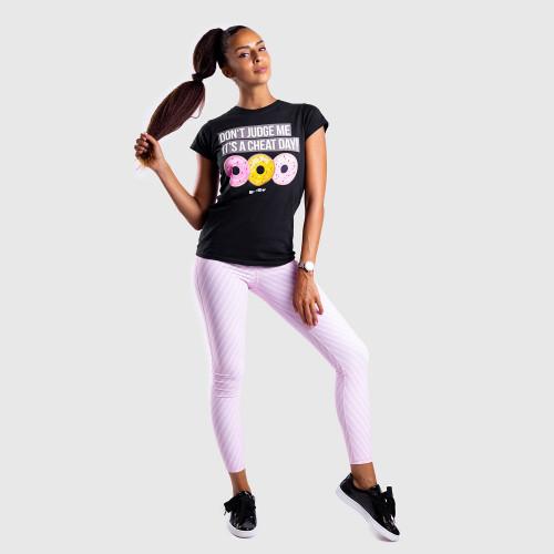 Női fitness póló Iron Aesthetics DONUTS, fekete