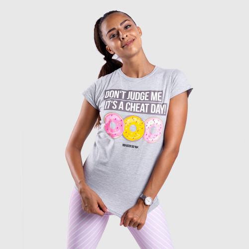 Női fitness póló Iron Aesthetics DONUTS, szürke