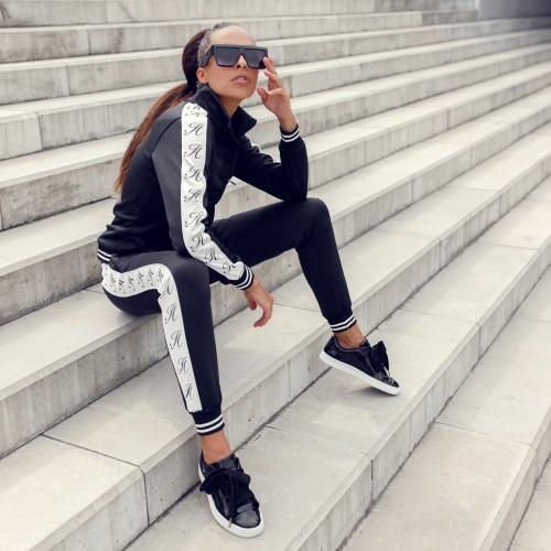 Női fitness cipzáros pulcsi Iron Aesthetics, fekete