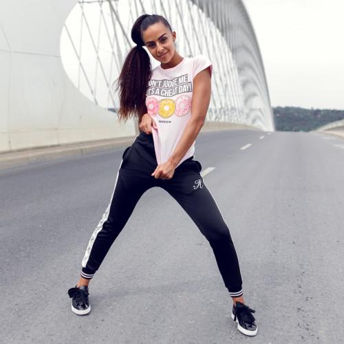 Női fitness póló Iron Aesthetics DONUTS, rózsaszín