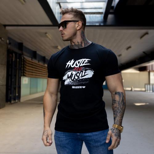 Férfi fitness póló Iron Aesthetics HUSTLE FOR MUSCLE, fekete