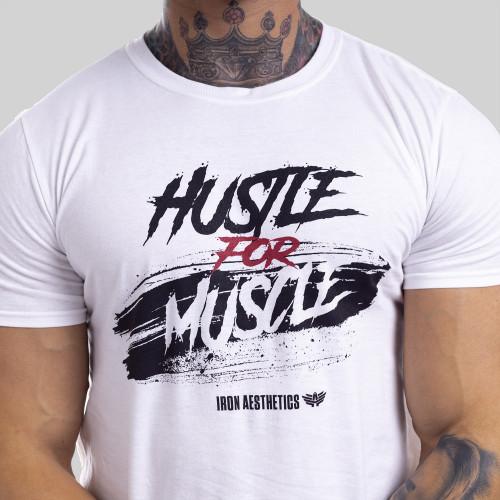 Férfi fitness póló Iron Aesthetics HUSTLE FOR MUSCLE, fehér