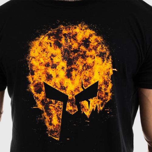 Ultrasoft póló Iron Aesthetics SKULL FIRE, fekete