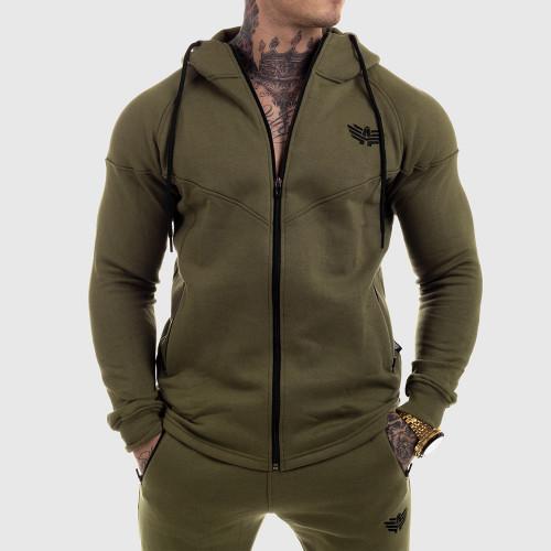 Cipzáros fitness pulóver Iron Aesthetics Round, zöld
