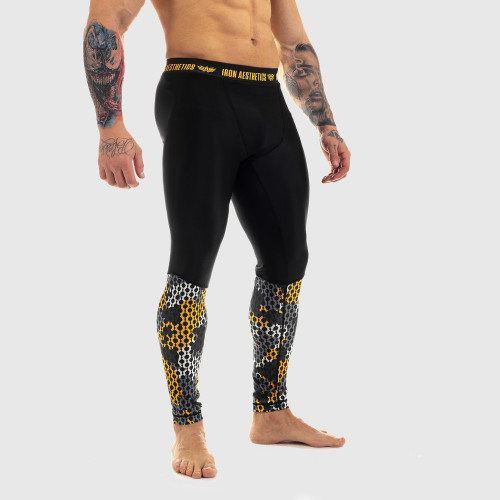Férfi leggings Iron Aesthetics Net Camo Sárga