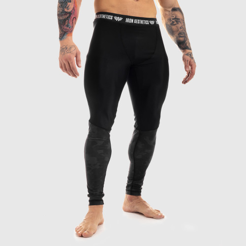 Férfi leggings Iron Aesthetics Black Camo