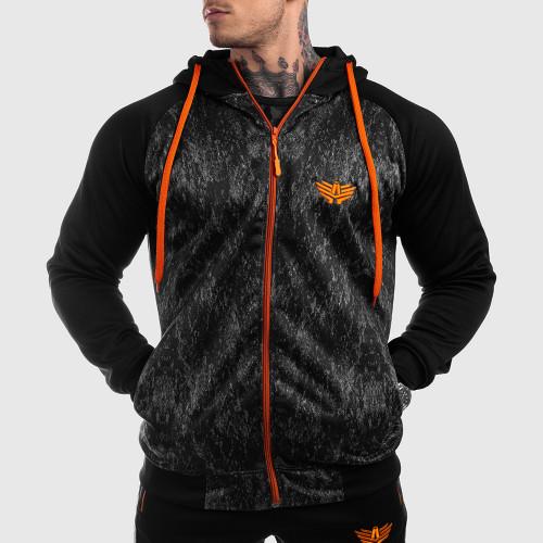 Fitness cipzáros pulóver Iron Aesthetics SLEEVE, Camo orange