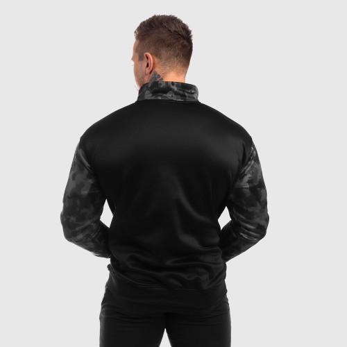 Fitness cipzáros pulóver Iron Aesthetics SLEEVE, fekete - katona minta