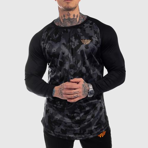 Funkciós hosszú ujjú póló Iron Aesthetics, fekete katona-minta