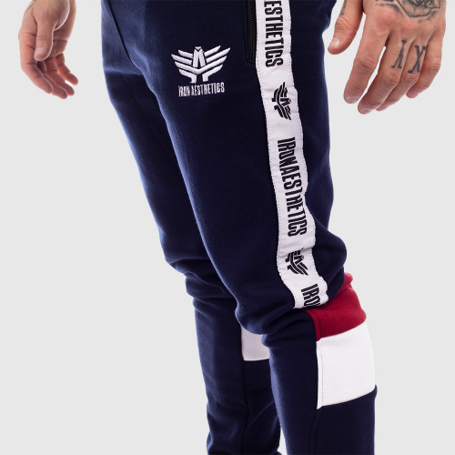 Jogger melegítőnadrág Iron Aesthetics STRIPES, navy