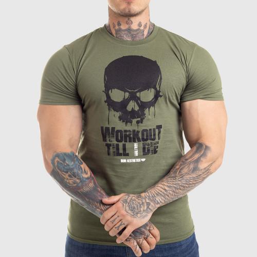 Ultrasoft póló Workout Till I Die, zöld