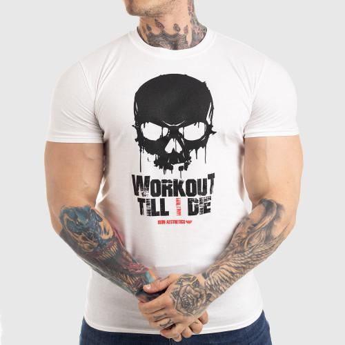 Ultrasoft póló Workout Till I Die, fehér