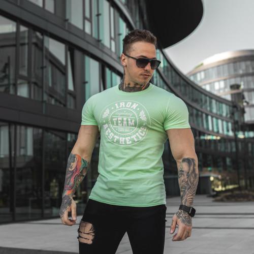 Férfi fitness póló Iron Aesthetics Circle Star, mentazöld
