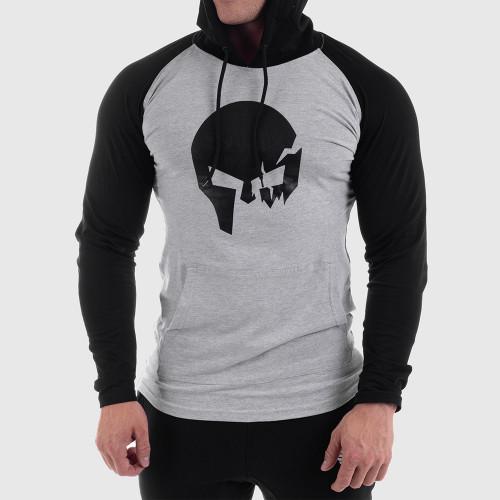 Fitness pulóver cipzár nélkül Iron Aesthetics Skull SLEEVE, szürke