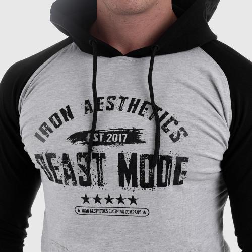 Fitness pulóver cipzár nélkül Iron Aesthetics Beast Mode Est. 2017 SLEEVE, szürke