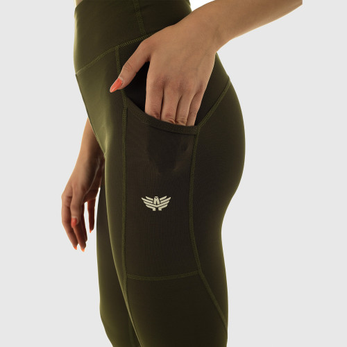 Női leggings POCKET- Iron Aesthetics, katonazöld
