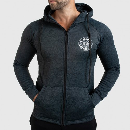 Fitness cipzáros pulóver Iron Aesthetics Circle Star, Grey Black
