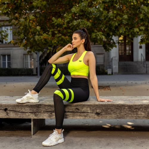 Női leggings NET Stripes - Iron Aesthetics, NEON GREEN