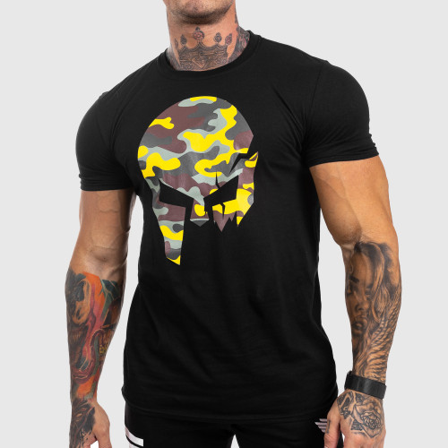Ultrasoft póló Iron Aesthetics Skull Yellow Camo, fekete