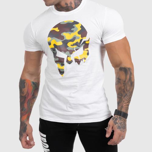 Ultrasoft póló Iron Aesthetics Skull Yellow Camo, fehér