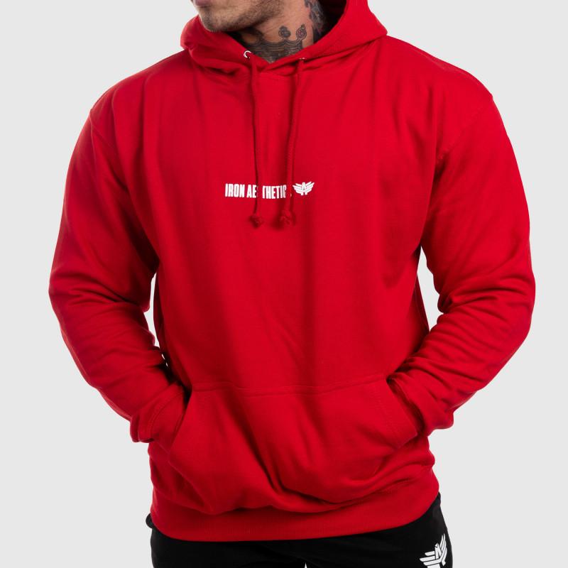 Fitness pulóver cipzár nélkül Iron Aesthetics Strongman, piros-1