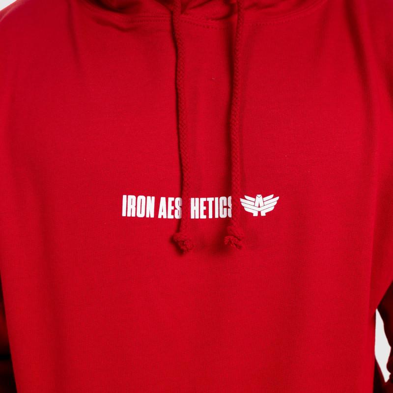 Fitness pulóver cipzár nélkül Iron Aesthetics Strongman, piros-5
