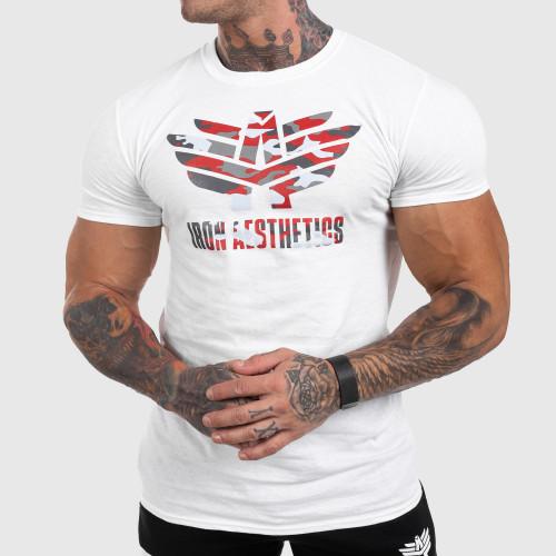 Ultrasoft póló Iron Aesthetics Red Camo, fehér