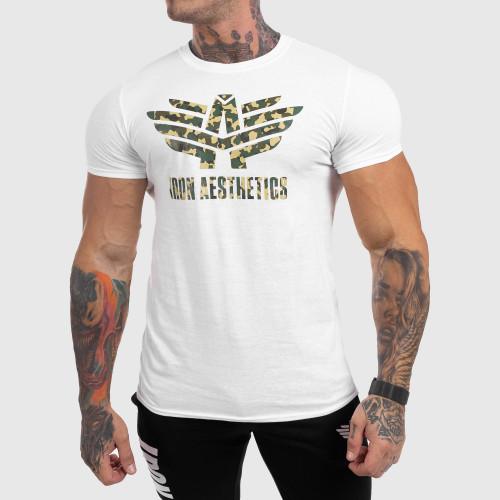 Ultrasoft póló Iron Aesthetics Green Camo, fehér
