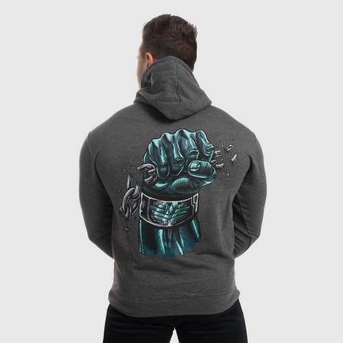 Fitness cipzár nélküli pulóver Iron Aesthetics Fist, szürke