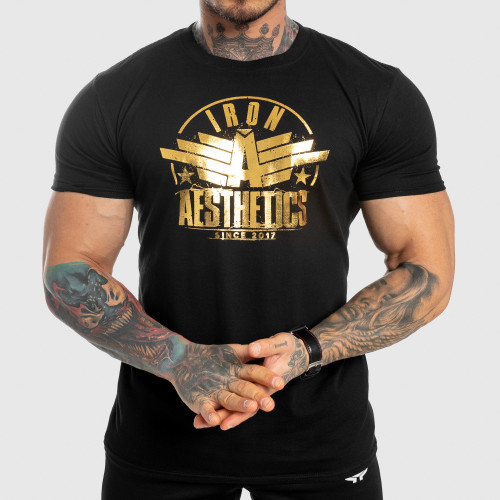 Férfi fitness póló Iron Aesthetics Force, black&gold