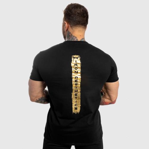 Férfi fitness póló Iron Aesthetics Force, black&gold