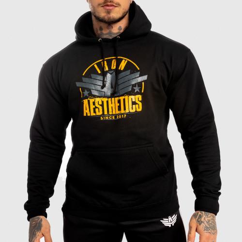 Fitness cipzár nélküli pulóver Iron Aesthetics Force, fekete