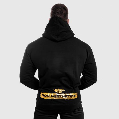 Fitness cipzár nélküli pulóver Iron Aesthetics Force, black&gold