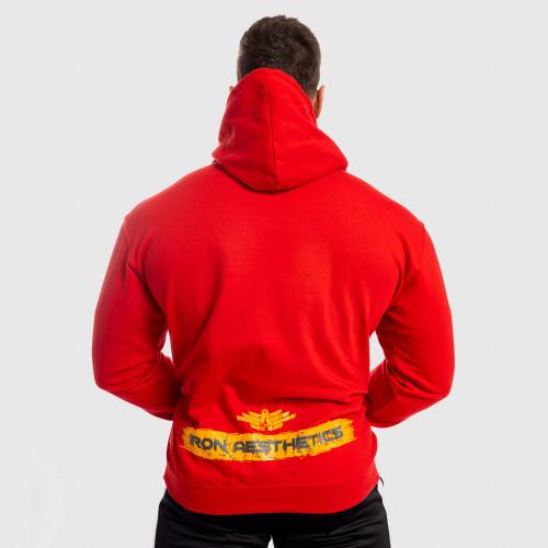 Fitness cipzár nélküli pulóver Iron Aesthetics Force, piros