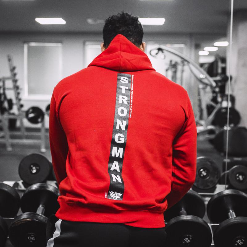 Fitness pulóver cipzár nélkül Iron Aesthetics Strongman, piros-2