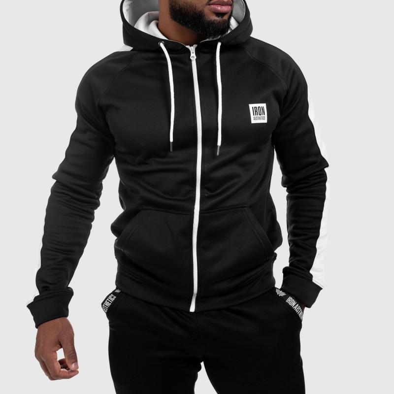 Cipzáros sportos pulóver Iron Aesthetics Boxed, fekete-1