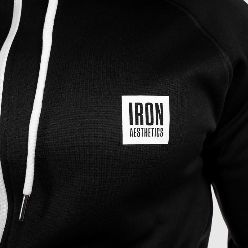 Cipzáros sportos pulóver Iron Aesthetics Boxed, fekete-7