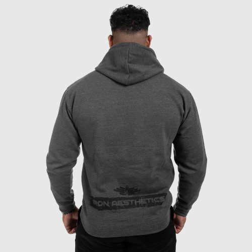Fitness cipzár nélküli pulóver Iron Aesthetics Force, Dark Grey