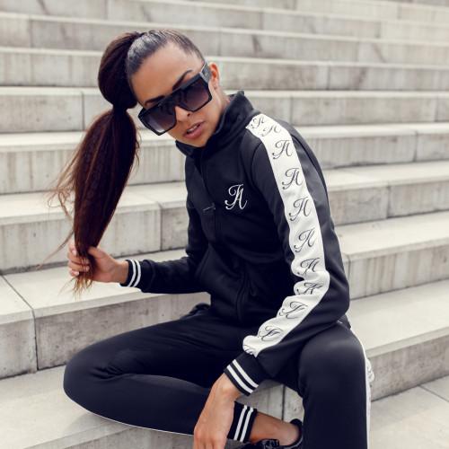 Női sportszett Iron Aesthetics Stripes, fekete