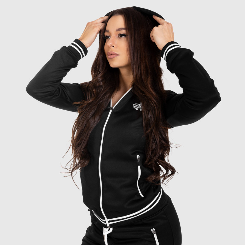 Női fitness cipzáros pulcsi Iron Aesthetics Original, fekete-4