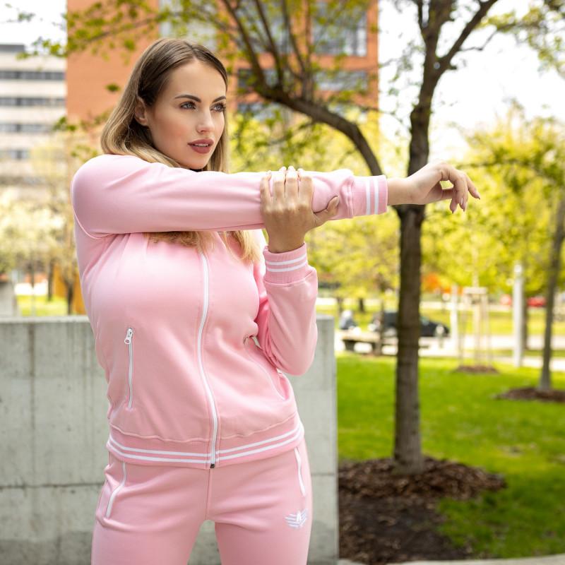 Női fitness cipzáros pulcsi Iron Aesthetics Original, rózsaszín-3
